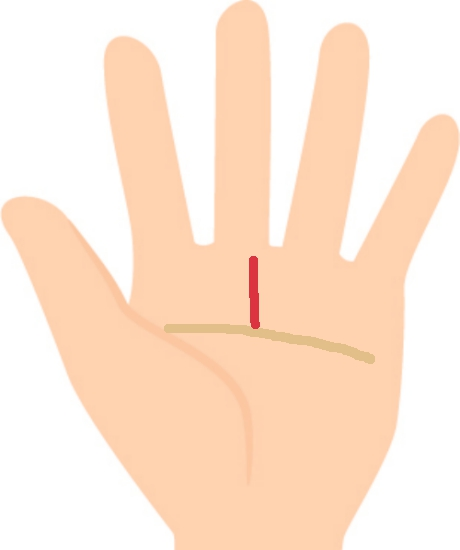 運命線で手相占い⑤運命線が知能線から伸びている